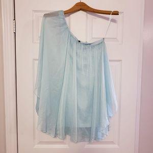 Dresses & Skirts - MINT BLUE CHIFFON ONE SHOULDER FLIRTY MINI DRESS S